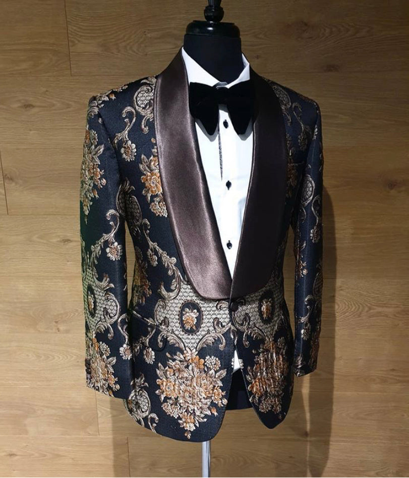 AIRTAILORS™ ROAYL BLACK PAISLEY PATTERN  SHAWL LAPEL DINNER JACKET