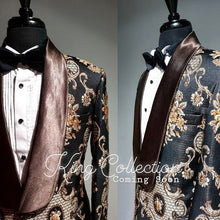 Airtailors Royal Collection Black Paisley Pattern Shawl Lapel Dinner Jacket