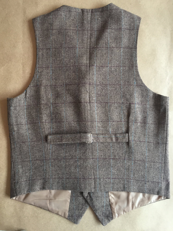 AIRTAILORS™ MENS NOTCH LAPEL COLLARED CHECKED TWEED VEST