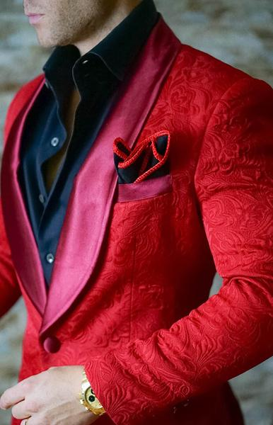 AIRTAILORS™  RED PROM SUITS PAISLEY DINNER JACKET - Airtailors