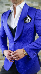 AIRTAILORS™  MENS WEDDING SUITS PAISLEY DINNER JACKETS COLOR BLUE - Airtailors
