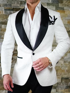 AIRTAILORS™ WHITE AND BLACK PAISLEY DINNER JACKET