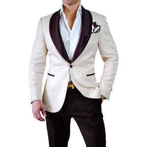 Airtailors Prom Suits Fashion Shawl Lapel Ivory Paisley Mens Wedding Suits or Dinner Jacket