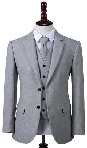 AIRTAILORS LIGHT GREY TWILL MENS 3 PIECE SUITS
