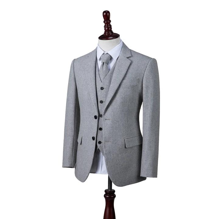 AIRTAILORS™ LIGHT GREY TWILL MENS 3 PIECE SUITS