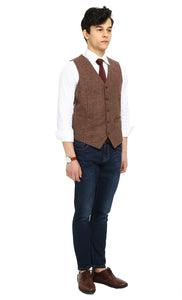 Rustic wedding Brown Herringbone Tweed Vest Side