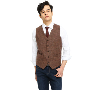 Rustic wedding Brown Herringbone Tweed Vest Front
