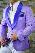 Purple Jacquard Paisley 2019 Prom Suits