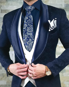AIRTAILORS™ NAVY BlUE PAISLEY PROM DINNER JACKET - Airtailors