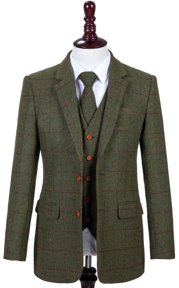 AIRTAILORS™  OLIVE GREEN HERRINGBONE TWEED 3 PIECE SUITS