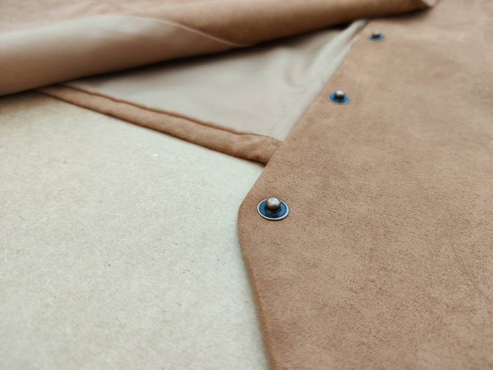 AIRTAILORS™ CAMEL SUEDE LEATHER VEST EMBOSSED SNAP WESTERN VEST