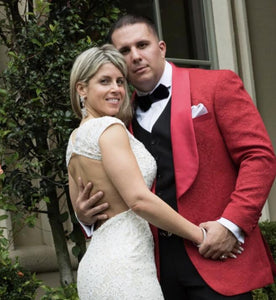 AIRTAILORS™  RED PROM SUITS PAISLEY DINNER JACKET