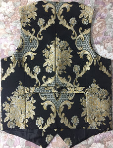 Airtailors Royal Style Fashion Jacquard Vests With 5 Self-Covered Buttons Black Color