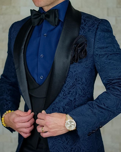 AIRTAILORS™ NAVY BLUE& BLACK PASILEY DINNER JACKET - Airtailors
