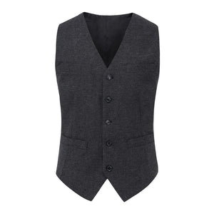 AIRTAILORS™ DARK GREY WOOL DONEGAL TWEED VEST - Airtailors