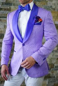 Purple Jacquard Paisley 2019 Prom Suits Shawl Lapel