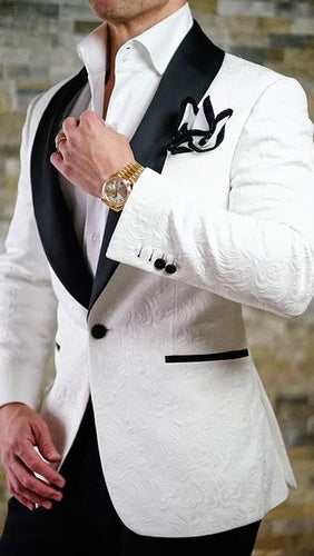 2019 white and black Prom Paisley dinner jacket