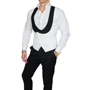 AIRTAILORS™  WHITE AND BLACK COLLAR WAISTCOAT