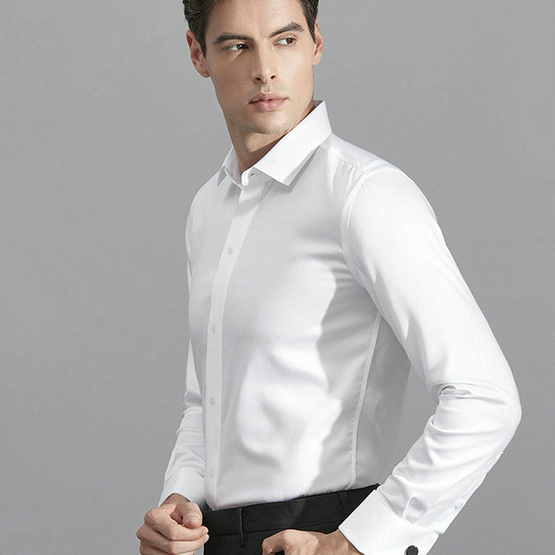 AIRTAILORS™ 100% COTTON LONG SLEEVE WHITE DRESS SHIRT