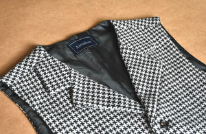 AIRTAILORS™ WOOL HOUNDSTOOTH  BLACK AND WHITE TWEED WAISTCOAT