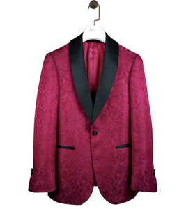 AIRTAILORS BURGUNDY&BlACK PROM SUITS PAISELY DINNER JACKET