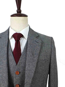 AIRTAILORS™ GREY HERRINGBONE TWEED JACKET 3 PICECES
