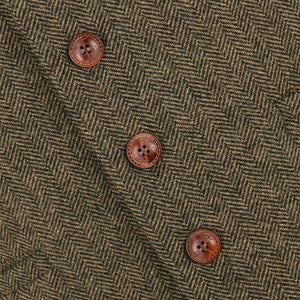 Airtailors Wool Tweed Mens Waistcoat Single-breasted Herringbone Slim Fitted Suit Vests
