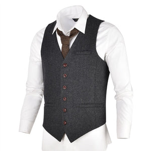AIRTAILORS™GREY BlACK WOOL HERRINGBONE TWEED VEST - Airtailors