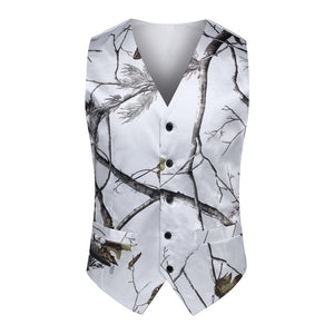 Camouflage Vest for Rustic Wedding White