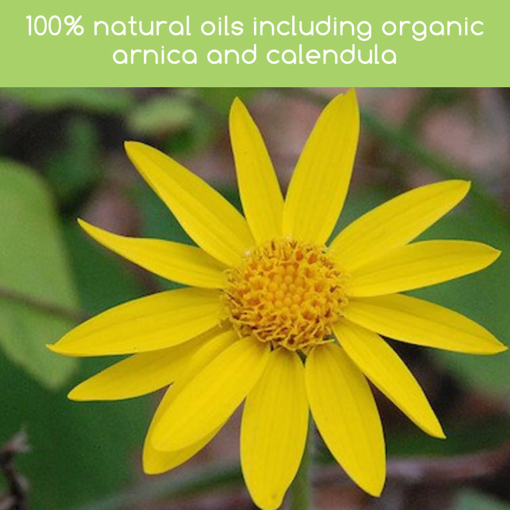Rooba Soothing Cheek Oil is made with a blend of oils including organic arnica and calendula