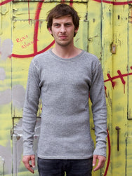 Homespun Knitwear Rib Tee Wool&Cotton Black