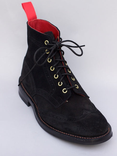 Tricker's x Denim Heads Black Suede Stow Boot
