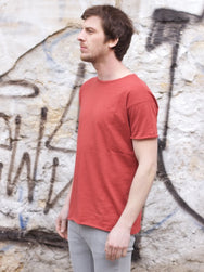 Nudie jeans Raw Hem Tee Slub Red