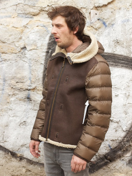 Ten C Hooded shearling liner brown