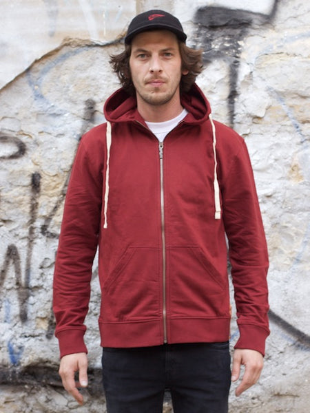 Nudie jeans Elvin Light Zip Hoodie Burnt Red