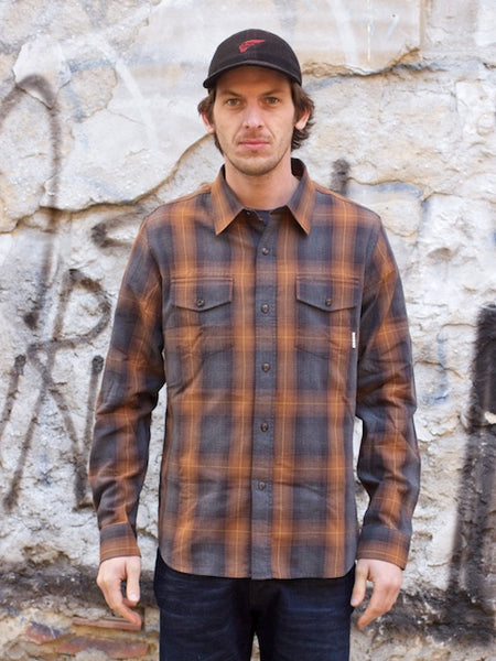 Eat Dust Clothing Rider's Shirt Grey Bear Brown Check