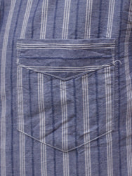Stevenson Overall Co. SL-3LS Saloon Shirt Light Indigo Stripe