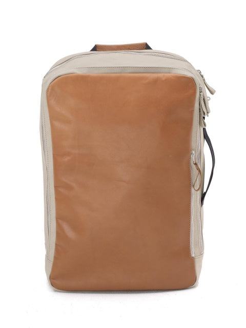 Qwstion Bags Backpack Brown Leather Canvas