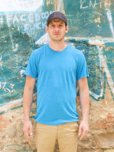 Jungmaven Men's Tee 100% Hemp Aegean Sea Blue
