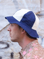 Stevenson Overall Reversible Hat - Blue Stripe x Natural / Blue Stripe x Blue