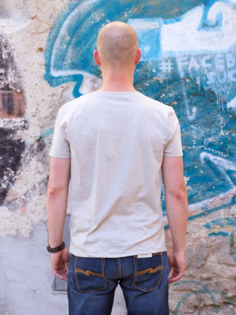 Nudie Jeans O-neck Tee Backbone Grey Melange