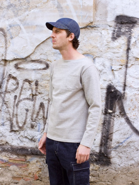 Japan Blue JBST03 16.5oz Sweat Long Sleeve, Grey