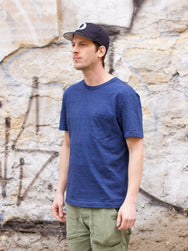 Homespun Knitwear Dad's Undershirt Indigo Micro Stripe