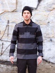 Wrenchmonkees A.C. #144 Striped Coated Shirt Blc/Grey
