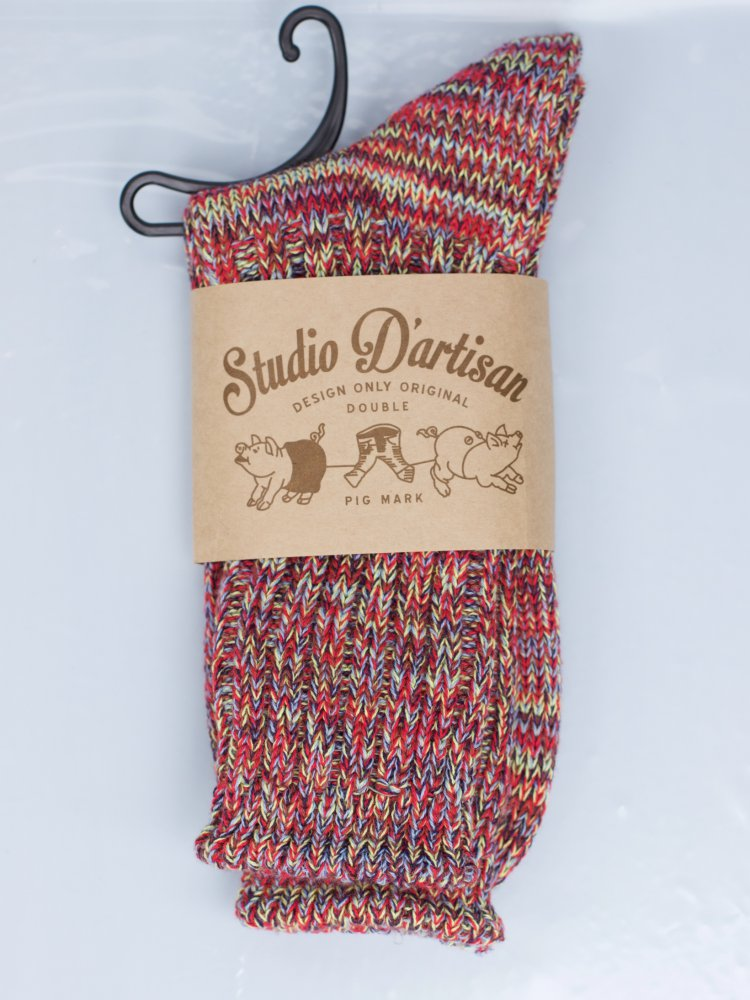 Studio d'Artisan 7391 Long Knit Socks Red