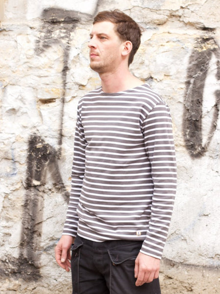 Armor Lux LS Breton Shirt Pie Grey/white