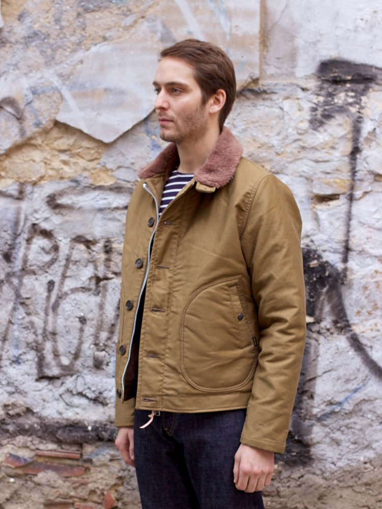 Iron Heart Alpaca Lined Whipcord N1 Deck Jacket - Khaki