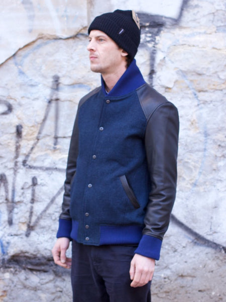 Nine Lives Go Blue! Sashiko Varsity Jacket