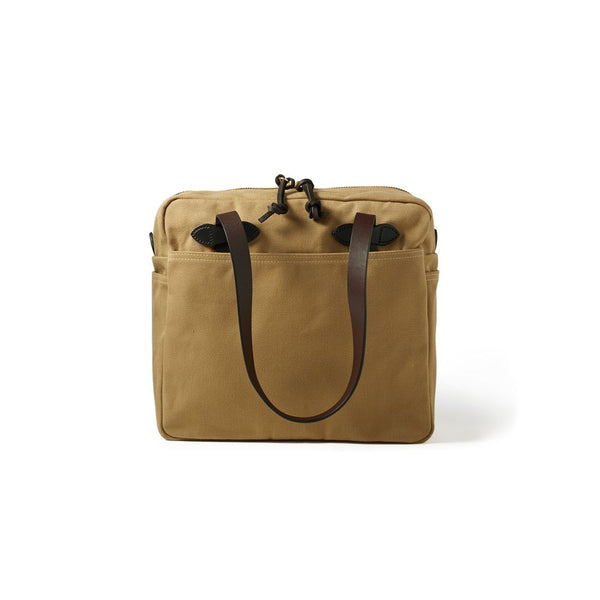 Filson Rugged Twill Tote Bag with zipper Dark Tan