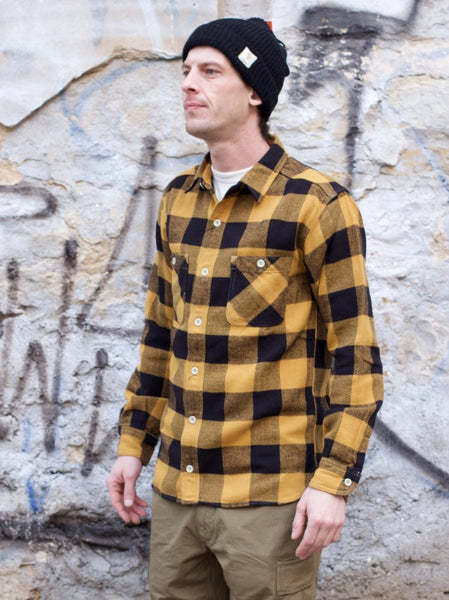 Momotaro 05-187 Check Flannel Shirt Herringbone Yellow